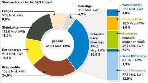 Energiebilanz 2015: Ökostrom bei 30 Prozent