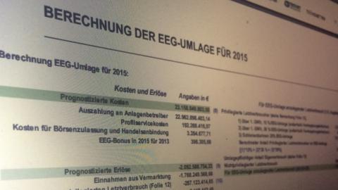 Eingeladen, zu hinterfragen – Berechnung der EEG Umlage 2015